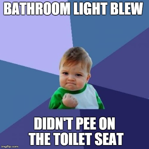 I used obi-wan's guidance | BATHROOM LIGHT BLEW  DIDN'T PEE ON THE TOILET SEAT | image tagged in memes,success kid,bathroom,pee,master,aim | made w/ Imgflip meme maker