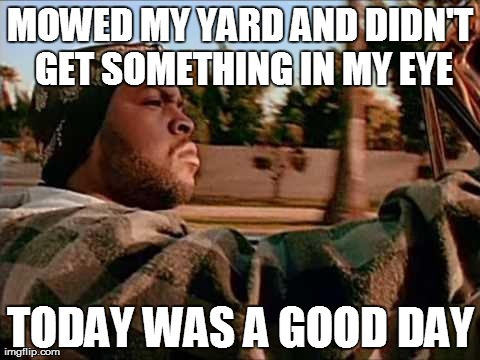 ice cube | MOWED MY YARD AND DIDN'T GET SOMETHING IN MY EYE TODAY WAS A GOOD DAY | image tagged in ice cube | made w/ Imgflip meme maker