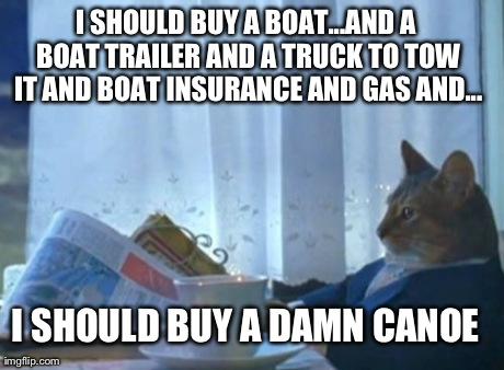 I Should Buy A Boat Cat Meme | I SHOULD BUY A BOAT...AND A BOAT TRAILER AND A TRUCK TO TOW IT AND BOAT INSURANCE AND GAS AND... I SHOULD BUY A DAMN CANOE | image tagged in memes,i should buy a boat cat | made w/ Imgflip meme maker