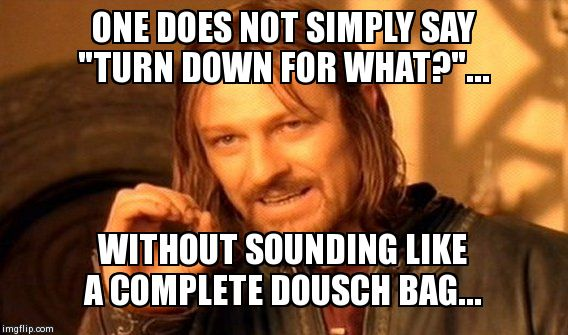 "One Does Not Simply Meme | ONE DOES NOT SIMPLY SAY ""TURN DOWN FOR WHAT?""... WITHOUT SOUNDING LIKE A COMPLETE DOUSCH BAG... 
