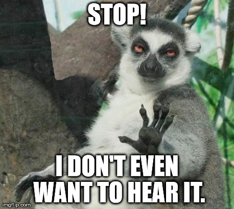 Stoner Lemur Meme | STOP! I DON'T EVEN WANT TO HEAR IT. | image tagged in memes,stoner lemur | made w/ Imgflip meme maker