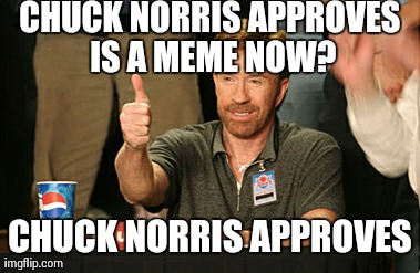 Chuck Norris Approves | CHUCK NORRIS APPROVES IS A MEME NOW? CHUCK NORRIS APPROVES | image tagged in memes,chuck norris approves | made w/ Imgflip meme maker