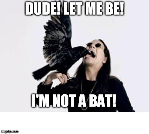 Ozzy | DUDE! LET ME BE! I'M NOT A BAT! | image tagged in memes,funny | made w/ Imgflip meme maker