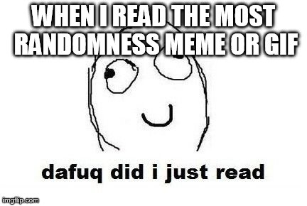 Dafuq Did I Just Read | WHEN I READ THE MOST RANDOMNESS MEME OR GIF | image tagged in memes,dafuq did i just read,funny | made w/ Imgflip meme maker
