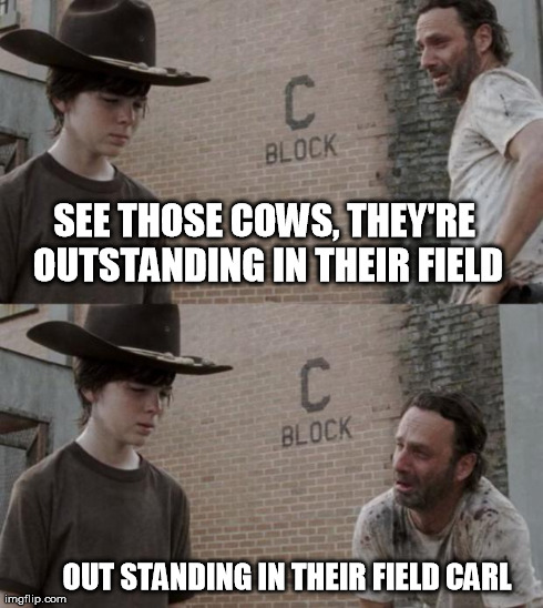 Rick and Carl Meme | SEE THOSE COWS, THEY'RE OUTSTANDING IN THEIR FIELD OUT STANDING IN THEIR FIELD CARL | image tagged in /r/heycarl,HeyCarl | made w/ Imgflip meme maker