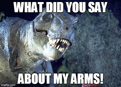 Jurassic Park meme  | WHAT DID YOU SAY ABOUT MY ARMS! | image tagged in jurassic park meme | made w/ Imgflip meme maker