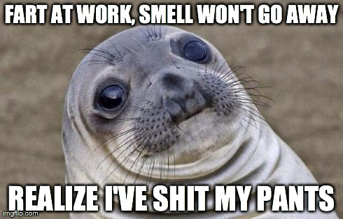 Awkward Moment Sealion Meme | FART AT WORK, SMELL WON'T GO AWAY REALIZE I'VE SHIT MY PANTS | image tagged in memes,awkward moment sealion | made w/ Imgflip meme maker