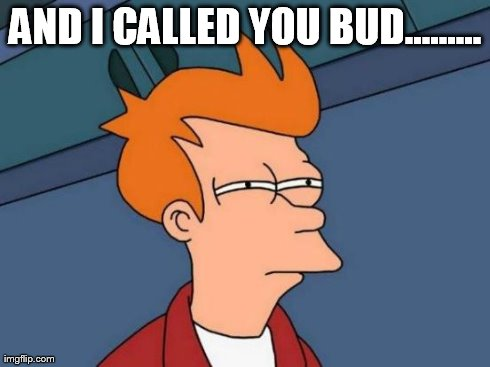 Futurama Fry | AND I CALLED YOU BUD......... | image tagged in memes,futurama fry | made w/ Imgflip meme maker
