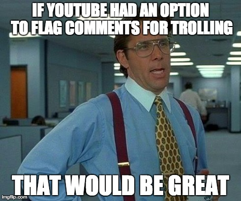 That Would Be Great Meme | IF YOUTUBE HAD AN OPTION TO FLAG COMMENTS FOR TROLLING THAT WOULD BE GREAT | image tagged in memes,that would be great | made w/ Imgflip meme maker