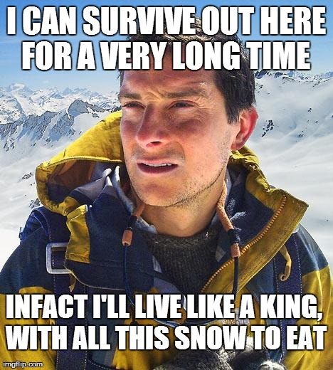 Bear Grylls | I CAN SURVIVE OUT HERE FOR A VERY LONG TIME  INFACT I'LL LIVE LIKE A KING, WITH ALL THIS SNOW TO EAT | image tagged in memes,bear grylls | made w/ Imgflip meme maker