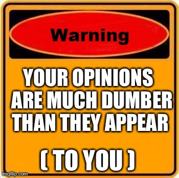 Warning Sign Meme | YOUR OPINIONS  ARE MUCH DUMBER  THAN THEY APPEAR  ( TO YOU ) | image tagged in memes,warning sign | made w/ Imgflip meme maker