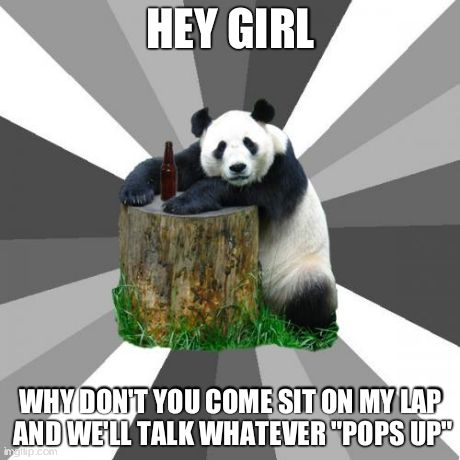 "Pickup Line Panda | HEY GIRL WHY DON'T YOU COME SIT ON MY LAP AND WE'LL TALK WHATEVER ""POPS UP"" 