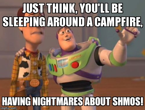 X, X Everywhere Meme | JUST THINK, YOU'LL BE SLEEPING AROUND A CAMPFIRE, HAVING NIGHTMARES ABOUT SHMOS! | image tagged in memes,x x everywhere | made w/ Imgflip meme maker