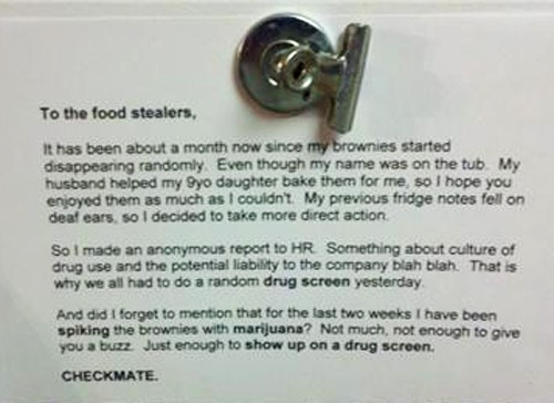 revenge on office food stealers | image tagged in funny,notes,pranks