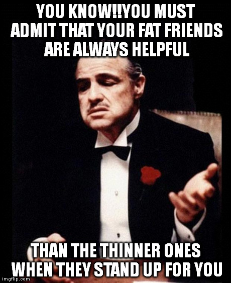 godfather | YOU KNOW!!YOU MUST ADMIT THAT YOUR FAT FRIENDS ARE ALWAYS HELPFUL THAN THE THINNER ONES WHEN THEY STAND UP FOR YOU | image tagged in godfather | made w/ Imgflip meme maker