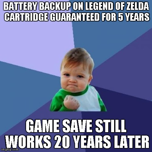 Success Kid Meme | BATTERY BACKUP ON LEGEND OF ZELDA CARTRIDGE GUARANTEED FOR 5 YEARS GAME SAVE STILL WORKS 20 YEARS LATER | image tagged in memes,success kid | made w/ Imgflip meme maker
