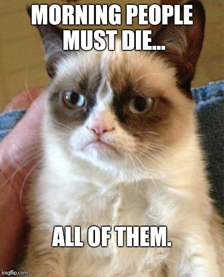 Grumpy Cat Meme | MORNING PEOPLE MUST DIE... ALL OF THEM. | image tagged in memes,grumpy cat | made w/ Imgflip meme maker