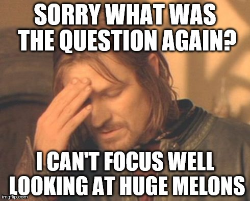 Frustrated Boromir Meme | SORRY WHAT WAS THE QUESTION AGAIN? I CAN'T FOCUS WELL LOOKING AT HUGE MELONS | image tagged in memes,frustrated boromir | made w/ Imgflip meme maker