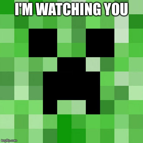 Scumbag Minecraft | I'M WATCHING YOU | image tagged in memes,scumbag minecraft | made w/ Imgflip meme maker