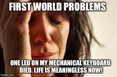 How i felt when a LED on my keyboard died | FIRST WORLD PROBLEMS  ONE LED ON MY MECHANICAL KEYBOARD DIED. LIFE IS MEANINGLESS NOW! | image tagged in memes,first world problems,pc gaming,pc,steam,razer | made w/ Imgflip meme maker