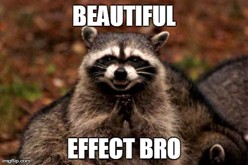 Evil Plotting Raccoon Meme | BEAUTIFUL EFFECT BRO | image tagged in memes,evil plotting raccoon | made w/ Imgflip meme maker