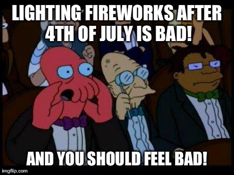 Are You Fucking Kidding Me? I Heard Firecrackers Right Outside My House Not Even 5 Minutes Ago.. | LIGHTING FIREWORKS AFTER 4TH OF JULY IS BAD! AND YOU SHOULD FEEL BAD! | image tagged in memes,you should feel bad zoidberg | made w/ Imgflip meme maker