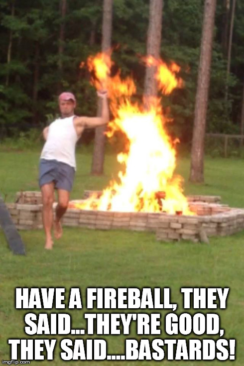 Fireball fun | HAVE A FIREBALL, THEY SAID...THEY'RE GOOD, THEY SAID....BA***RDS! | image tagged in fire | made w/ Imgflip meme maker