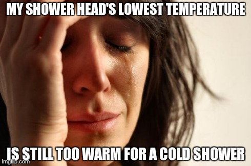 First World Problems Meme | MY SHOWER HEAD'S LOWEST TEMPERATURE IS STILL TOO WARM FOR A COLD SHOWER | image tagged in memes,first world problems | made w/ Imgflip meme maker