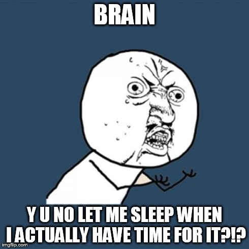 Y U No Meme | BRAIN Y U NO LET ME SLEEP WHEN I ACTUALLY HAVE TIME FOR IT?!? | image tagged in memes,y u no | made w/ Imgflip meme maker