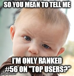 "Skeptical Baby Meme | SO YOU MEAN TO TELL ME I'M ONLY RANKED #56 ON ""TOP USERS?"" 