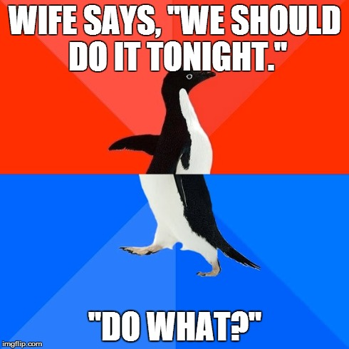 "Socially Awesome Awkward Penguin | WIFE SAYS, ""WE SHOULD DO IT TONIGHT."" ""DO WHAT?"" 