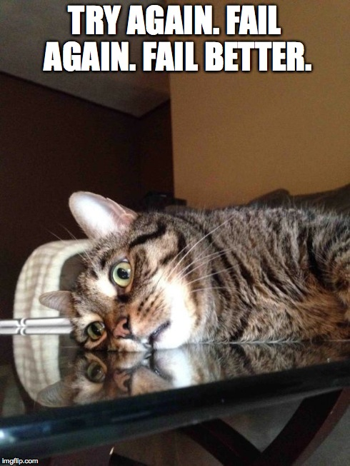 TRY AGAIN. FAIL AGAIN. FAIL BETTER. | image tagged in existential cat | made w/ Imgflip meme maker