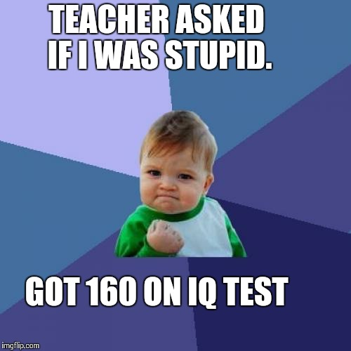 Success Kid Meme | TEACHER ASKED IF I WAS STUPID. GOT 160 ON IQ TEST | image tagged in memes,success kid | made w/ Imgflip meme maker