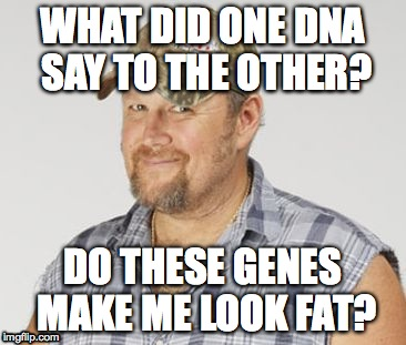 Larry The Cable Guy | WHAT DID ONE DNA SAY TO THE OTHER? DO THESE GENES MAKE ME LOOK FAT? | image tagged in memes,larry the cable guy | made w/ Imgflip meme maker