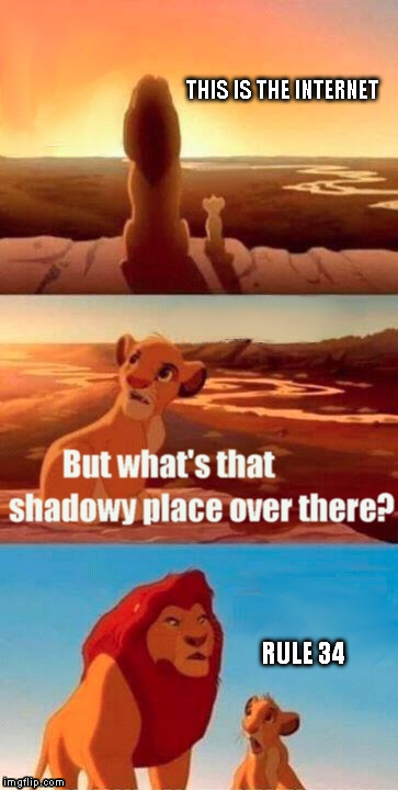 It's a scary place | THIS IS THE INTERNET RULE 34 | image tagged in memes,simba shadowy place,o_o,funny | made w/ Imgflip meme maker
