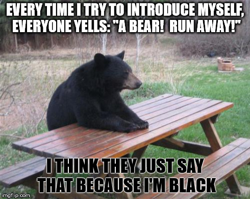 "Bad Luck Bear Meme | EVERY TIME I TRY TO INTRODUCE MYSELF, EVERYONE YELLS: ""A BEAR!  RUN AWAY!"" I THINK THEY JUST SAY THAT BECAUSE I'M BLACK 
