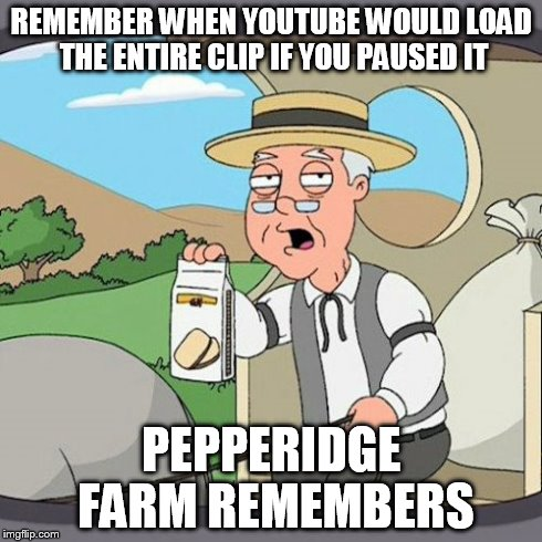 Pepperidge Farm Remembers | REMEMBER WHEN YOUTUBE WOULD LOAD THE ENTIRE CLIP IF YOU PAUSED IT PEPPERIDGE FARM REMEMBERS | image tagged in memes,pepperidge farm remembers | made w/ Imgflip meme maker