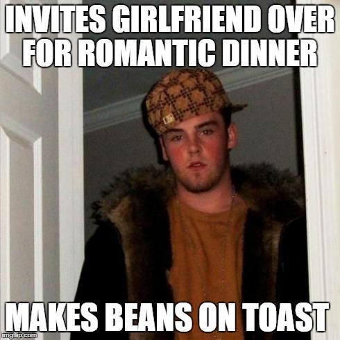Scumbag Steve Meme | INVITES GIRLFRIEND OVER FOR ROMANTIC DINNER MAKES BEANS ON TOAST | image tagged in memes,scumbag steve | made w/ Imgflip meme maker