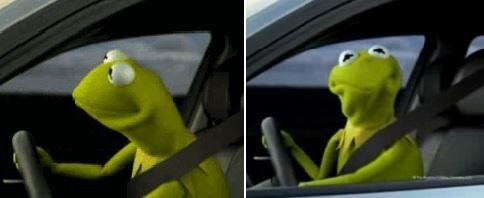 Kermit The Frog Meme Driving Kermit Driver B...
