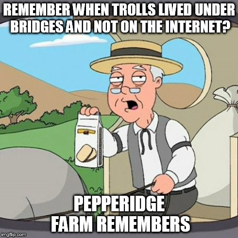 Pepperidge Farm Remembers | REMEMBER WHEN TROLLS LIVED UNDER BRIDGES AND NOT ON THE INTERNET? PEPPERIDGE FARM REMEMBERS | image tagged in memes,pepperidge farm remembers | made w/ Imgflip meme maker
