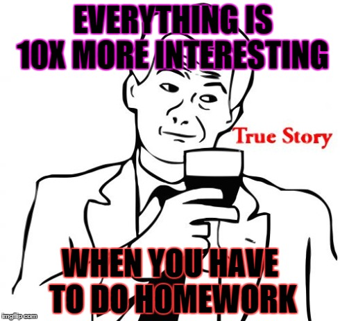 True Story | EVERYTHING IS 10X MORE INTERESTING WHEN YOU HAVE TO DO HOMEWORK | image tagged in memes,true story | made w/ Imgflip meme maker
