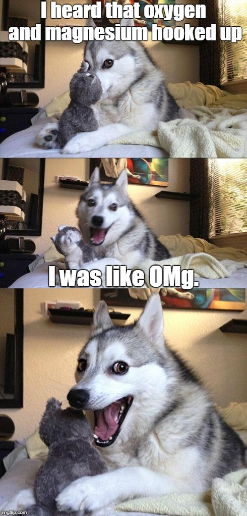 Bad Pun Dog Meme | I heard that oxygen and magnesium hooked up I was like OMg. | image tagged in memes,bad pun dog | made w/ Imgflip meme maker