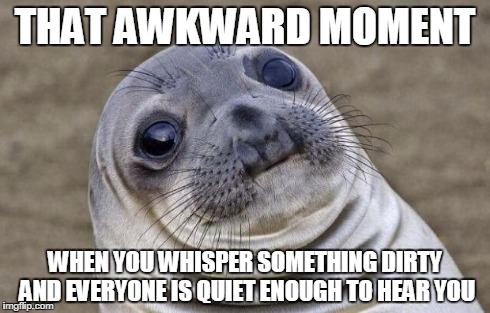 Especially when they're adults... | THAT AWKWARD MOMENT WHEN YOU WHISPER SOMETHING DIRTY AND EVERYONE IS QUIET ENOUGH TO HEAR YOU | image tagged in memes,awkward moment sealion,whisper,dirty,awkward | made w/ Imgflip meme maker