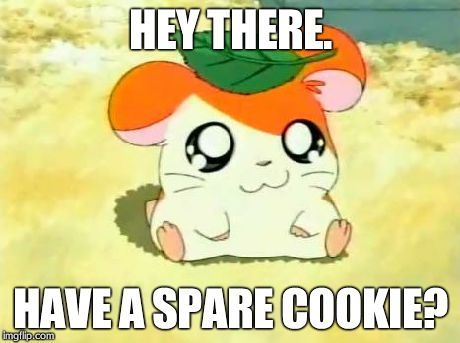 Hamtaro | HEY THERE. HAVE A SPARE COOKIE? | image tagged in memes,hamtaro | made w/ Imgflip meme maker
