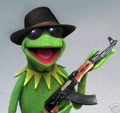 648d212c55495 High Quality kermit-gun Blank Meme Template