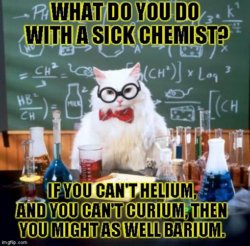 Chemistry Cat | WHAT DO YOU DO WITH A SICK CHEMIST? IF YOU CAN'T HELIUM, AND YOU CAN'T CURIUM, THEN YOU MIGHT AS WELL BARIUM. | image tagged in memes,chemistry cat | made w/ Imgflip meme maker