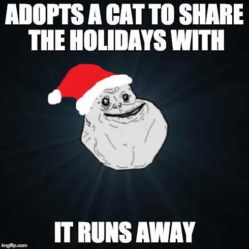forever alone | ADOPTS A CAT TO SHARE THE HOLIDAYS WITH IT RUNS AWAY | image tagged in memes,forever alone christmas | made w/ Imgflip meme maker
