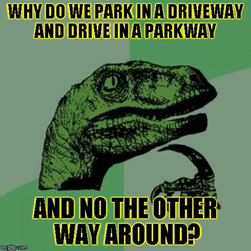 Philosoraptor Meme | WHY DO WE PARK IN A DRIVEWAY AND DRIVE IN A PARKWAY AND NO THE OTHER WAY AROUND? | image tagged in memes,philosoraptor | made w/ Imgflip meme maker