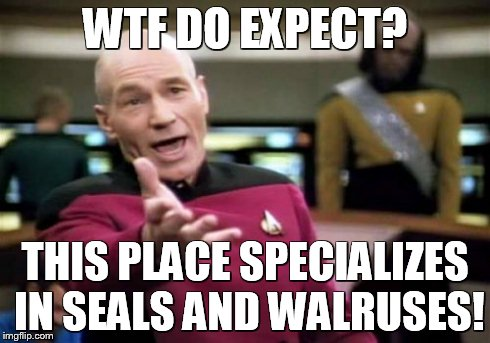 Picard Wtf Meme | WTF DO EXPECT? THIS PLACE SPECIALIZES IN SEALS AND WALRUSES! | image tagged in memes,picard wtf | made w/ Imgflip meme maker