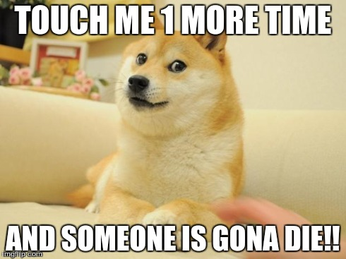 Doge 2 | TOUCH ME 1 MORE TIME AND SOMEONE IS GONA DIE!! | image tagged in memes,doge 2 | made w/ Imgflip meme maker